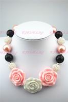 kinder halskette große perlen großhandel-Chunky Bubblegum Big Beads Kinder Halskette pinkgreen 3rose Blumen Anhänger neue CB034