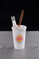Wholesale Burger King Glasses - BURGER KING CUP glass bong with domeless glass nail concertrate oil rigs bubber water pipe