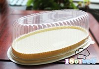 sipariş plastik kutular toptan satış-Ücretsiz nakliye, Plastik cheese cake kutusu peynir kek kutu oval pasta kutusu atılabilir blister ambalaj kutusu sipariş $ 18no parça