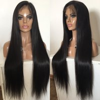 Wholesale Long Brown Wig Ponytail - High Quality 1B Silky Straight Mongolian Virgin Human Hair High Ponytail Front Lace Wig Free Shipping