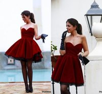 Wholesale Simple Prom Ball Gown - 2017 New Arrival Burgundy Short Prom Dresses Sweetheart Arabic Backless Cocktail Dresses Simple Evening Party Gowns BA0593