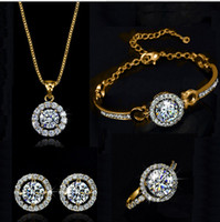 zirkon halskette armband großhandel-Zirkon hochzeiten modeschmuck sets (armband, ohrring, ring, halskette) strass kristall modeschmuck für frauen