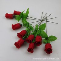 Wholesale Single Artificial Red Rose - Factory wholesale silk flower simulation flower Artificial Bud single roses small branch of Yiwu row sign