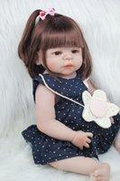 ingrosso bambole della ragazza del silicone pieno del corpo-55 centimetri in silicone Full Body Reborn bambino della ragazza bambola giocattolo 22inch Newborn principessa del bambino bambini delle bambole Bagno Toy Play House Toy Doll Accessori