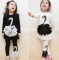 Wholesale Wholesale Two Piece Skirt Suits - Children Clothes sets girl swan suit lace patch Swan Neck two piece outfits pants skirt with swan print 2014 lace leggings girls in stock