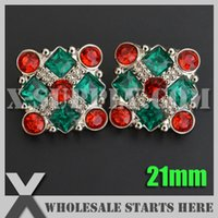 Wholesale Stoned Hair Bow Wholesale - Free Shipping 21mm Square Christmas Acrylic Rhinestone Buttons,Used for Clothing,Headbands,Hair Bows,Red and Emerald Stones