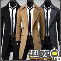 Wholesale Synthetic Breasts - hot sale long wool coat mens double breasted trench coats Wholesale men simple luxury men overcoat Free shipping