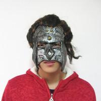 Wholesale robot halloween costumes - Terror Halloween Latex mask Bronze Robot Party Masquerade Rivet Mask With Long Hair Upper Half Face Horror Mask