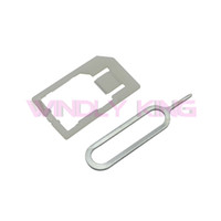 Wholesale Steel Micro Sim Adapter - Wholesale-Silver Micro Sim Card Steel Metal Cutter and Nano SIM Cutter citting With 2 SIM Card Adapter