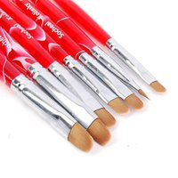 Wholesale-7pcs / set del chiodo chiodo caldo arte French Manicure Pennelli Uv Gel Sable Brush Set spazzola di arte