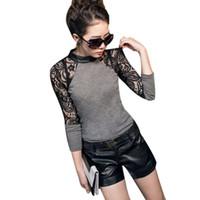 blusa de pulôver de laço de manga comprida venda por atacado-Mulheres Casual Manga Comprida Lace Blusa Camisa O Pescoço Tops Pullover Malhas Tops Outwear FG1511