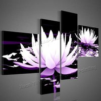 Wholesale Art Modern Oil Painting Purple - 100% HD Painted 4 Piece Black White Purple Modern Decorative Oil Painting On Canvas Wall Art Flower Picture For Living Room