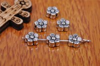Wholesale Spacer Flat - Top Sale 500pieces 6mm Snow Flower Beads Spacer Charms connector Pendant 7187 925 Tibet Silver DIY Jewelry Beads Europe Bracelet Necklace