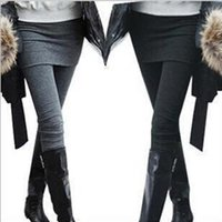 Wholesale Sexy Leggings Two Piece - Autumn Winter Women's Pants With Mini Faux Skirt Warm False Two Pieces Leggings Sexy Slim Fit Stretch Leggings frozen leggings