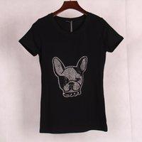 Wholesale Jewels Dog - FG1509 Plus Size 2015 New Punk Rock Brand Women's T shirt Cute Dog Animal Printed & Jewel Embedded Short Sleeve T-shirt Tops Tees Women
