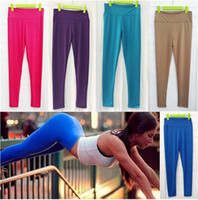 Wholesale Motion Active - New women super elastic motion Capris pants high waist leggings in candy colors yoga pants 11 color free shipiping