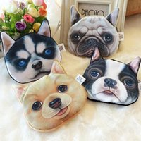 Wholesale Lovely Animal Card - 3D Printing Lovely Cute Cat Dog Animal Face Print Zipper Coin Purses Purse Wallets Makeup Mini Bag Pouch Over 80style choose