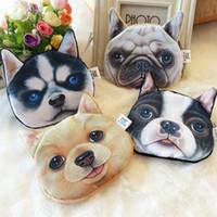 rosto de animal 3d venda por atacado-Impressão 3D Adorável Bonito Cão Gato Rosto Animal Imprimir Zíper Coin Bolsas Bolsa Carteiras Maquiagem Mini Saco Bolsa Mais de 80 estilo escolher