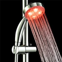 Wholesale Dual Waterfall Shower - RGB 7 Color Changing LED Shower Head Sprinkler Automatic Control Sprinkler Shower Nozzle Waterfall Shower Head