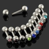 Wholesale Tongue Ring Ball Nose - 10pc Lots Mixed Ball Tongue Lip Bars Nose Ring Barbell Body Piercing Stainless Steel NA479