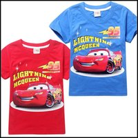 Wholesale Mcqueen Cars Shirt - 2015 boys cars printing T shirt Kids boy short sleeve Lightning Mcqueen shirts children cotton summer hot clothes J061202#