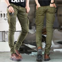 Wholesale Cargo Jeans Military Fashion - 2015 Fashion Zipper Multi Pocket Male Pleated Pencil Pants Full Length Stretch Military Men Skinny Cargo Jeans Pants Army Green Color