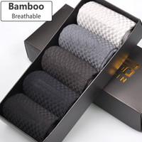 Wholesale- uarantee Men Bamboo Socks Deodorant Breathable Comfortable Anti-Bacterial Casual Business Man Socks (5pairs   lot)
