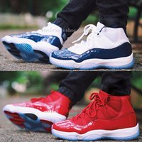 Wholesale Womens Navy Blue Boots - 2017 New Air Retro 11 UNC Gym Red Navy blue Man Basketball Shoes Win Like 82 96 womens Sports Trainer Sneakers US 5-13
