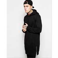 ingrosso caldo hiphop-Hot Black Mens Longline Felpe uomo in pile Solid felpe Moda Tall con cappuccio hip hop cerniera laterale streetwear Extra Long Hiphop