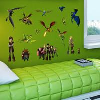 etiqueta de la pared del tren de dibujos animados al por mayor-2015 Cartoon Cómo entrenar a tu dragón 2 pegatinas de pared Extraíble impermeable Nursery Loving Gift Home Decor Art