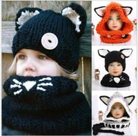 cachecóis bonitos dos miúdos venda por atacado-Meninos bonitos Meninas Moda Fox Cat Ear Inverno Chapéus À Prova de Vento E Cachecol Conjunto Para Crianças Chapéu de Malha De Crochê Macio Chapéu Quente Do Bebê Gorros de Inverno