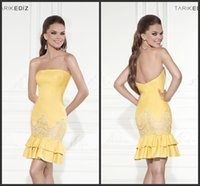 Wholesale Dress Tarik Ediz - Tarik Ediz New Arrive Cocktail Dresses With Lace Applique Strapless Mermaid Ruffle Sexy Party Prom Dress Gowns Mermaid No Sleeve Exquisite