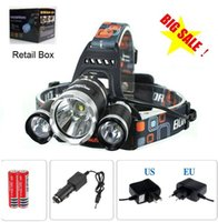 Wholesale Cree Flashlight 3x T6 - 3x CREE XM-L T6 LED Headlamp Headlight Flashlight 5000 Lumens Head Lamp + AC charger + car charger + 2pcs 18650 battery Free Shipping
