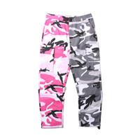 Wholesale Vertical Gold - 2018 NEW Camo vertical stripes Patchwork Cargo Pants Men's Hip Hop Casual Camouflage Trousers Fashion Joggers Sweatpants 8 Color