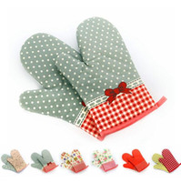Wholesale Heat Sweet - Oven Gloves Bakeware Microwave Heat Insulation Anti High Temperature Grill Glove Dot Floral Sweet Oven Mitt Baking Gloves CCA8023 50pcs
