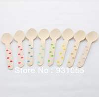 "Wholesale Chevron Spoons - Wholesale-200 PCS 6.5"" Wooden Utensils Cutlery Chevron Wooden Spoons Polka Dot Stripe Mix Colors FREE SHIPPING"