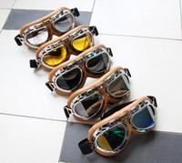 óculos claros atv venda por atacado-Motocicleta Óculos Óculos Óculos de Aviador Piloto Cruiser Scooter ATV T08Y Cinco Lente Clara Fumaça Colorido prata Amarelo availble