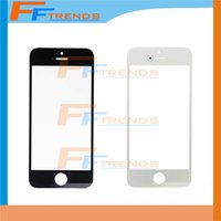 Wholesale Iphone Front Cover Replacement - For Apple iPhone 5S Front Glass Lens Ourter Touch Screen Cover Black White Replacement Repair Parts Free DHL Ship High Quality AA0011
