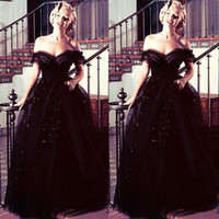 Wholesale marilyn blue - 2016 Black Ball Gown Evening Dresses Off Shoulder Tulle Floor Length Open Back Formal Celebrity Gowns Beads Sequins Marilyn Monroe Oscars