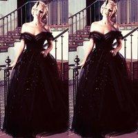 oscar payet elbise toptan satış-2019 Siyah Balo Abiye Kapalı Omuz Tül Kat Uzunluk Aç Geri Örgün Ünlü Abiye Boncuk Sequins Marilyn Monroe Oscar