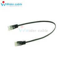 Wholesale Patch Lan Cable - 10 Pieces Black Smooth Ultra Flat Cat6 Ethernet Patch Cable RJ45 Network Cable Black Lan Cable 1ft