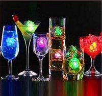 Wholesale Cube Lights Decoration - 7 color changing Light up LED Ice Cubes Glow Ice Cubes for wedding decoration novelty party