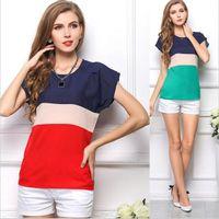 Wholesale Tops Blouses Stripes - S-XXXLSize New Women Summer Blouses & t Shirts Stripe Chiffon Blouse Roupas Femininas Short Sleeve Casual Tops Shirt Blusas 1041