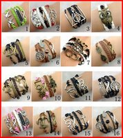 Wholesale Wholesale Brass Anchor - 30pcs 148 Designs Stock Women Leather Bracelet Antique Cross Anchor Love Peach Heart Owl Bird Believe Pearl Knitting Bronze Charm Bracelets