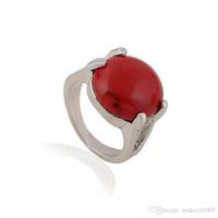 ingrosso anelli di pietre rosse naturali-Anello in pietra con piccoli turchesi rossi Nuovi gioielli in pietre preziose per donna con pietre preziose per donna al di sotto dei $ 5