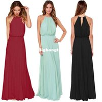 1510 Sheinside 2015 estate delle donne Mint senza maniche a pieghe Halter maxi Long Beach Wear Solid Elegante ultima marca alla moda New Dress