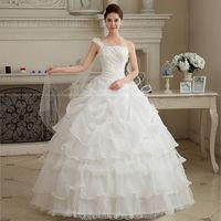 Wholesale Korean Wedding Dress Image - Flower Ribbon 2015 Fashion Hot Sale Sweetange Korean Style Sweet Romantic Lace Princess Wedding Dress Free Shipping CC006