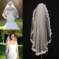 Wholesale Ivory Wedding Veil Scallop - Alencon Lace Veils fingertip With Comb veil re-embroidered one layer bridal veil ivory lace veil scallop veil wedding bridal accessories