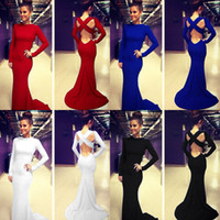 Reference Images blue embellished dress - Sales Evening Dress Eiffelbride with Embellished Long Sleeve and Glamorous Backless Cross Strap Mermaid Mermaid Prom Dresses