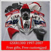 Wholesale Hayabusa Painted Fairing Kits - Xerox Fairing Kits Of Suzuki GSX-R1300 97 98 99 00 01 GSXR1300 02 03 04 05 06 07 GSXR 1300 Hayabusa Red White Painting Motorcycle Bodywork